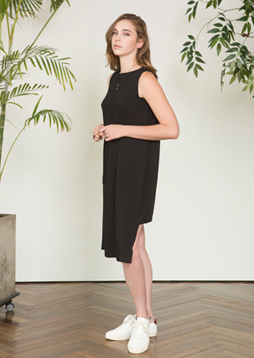 STRING DETAILED SUMMER DRESS [BLACK]