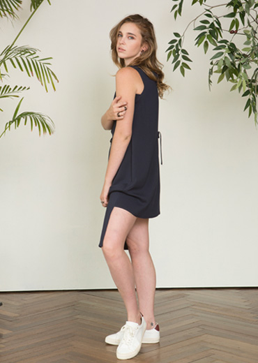 STRING DETAILED SUMMER DRESS [NAVY]