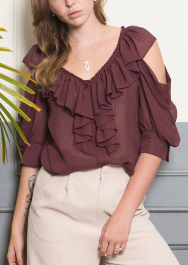 SEE-THRU RUFFLED BLOUSE