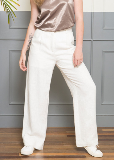 LINEN WIDE-LEG TROUSERS