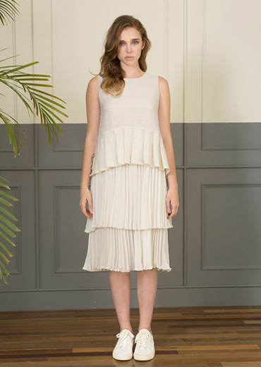 LINEN DOUBLE PLEATED DRESS