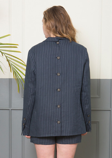 LINEN STRIPED SUIT JACKET [NAVY]