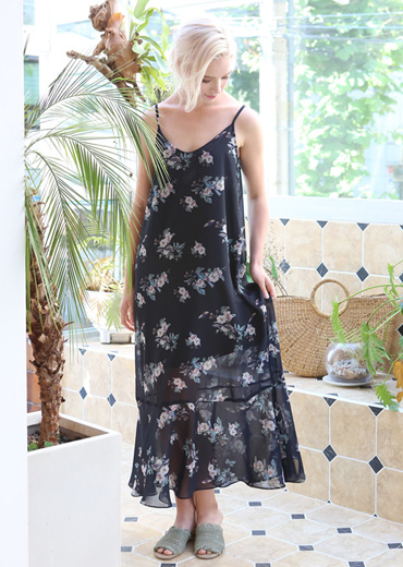 ORIENTAL BIRD PRINT SLIP DRESS [NAVY]