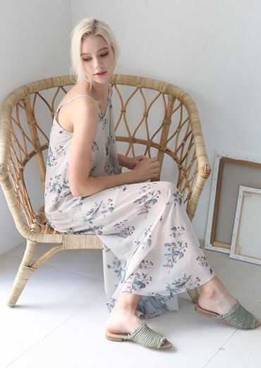 ORIENTAL BIRD PRINT SLIP DRESS [IVORY]
