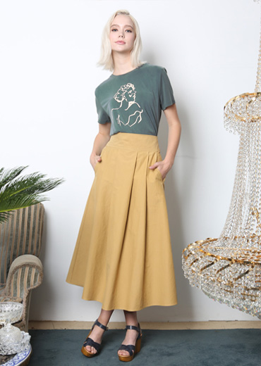 PLEATED COTTON SKIRT [YELLOW]