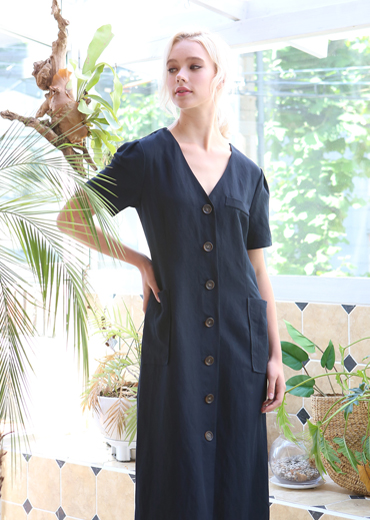 PUFF SLEEVE LINEN MAXI DRESS [NAVY]