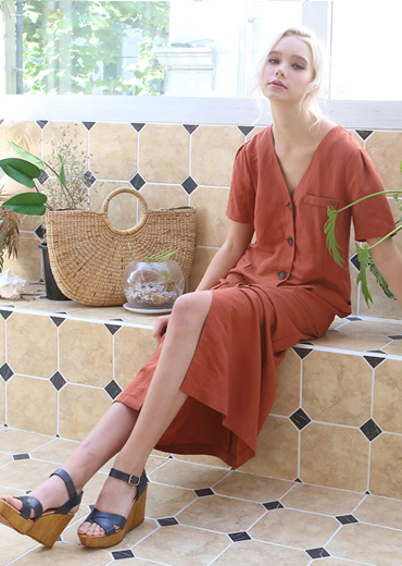 PUFF SLEEVE LINEN MAXI DRESS [ORANGE]
