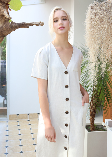 PUFF SLEEVE LINEN MAXI DRESS [WHITE]