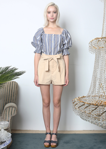 PUFF SLEEVE STRIPED BLOUSE [BLUE]
