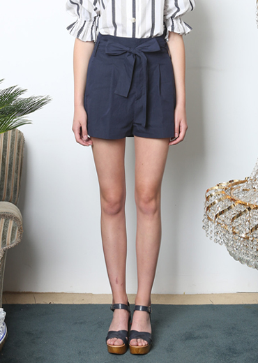RIBBON TIED SHORTS [NAVY]