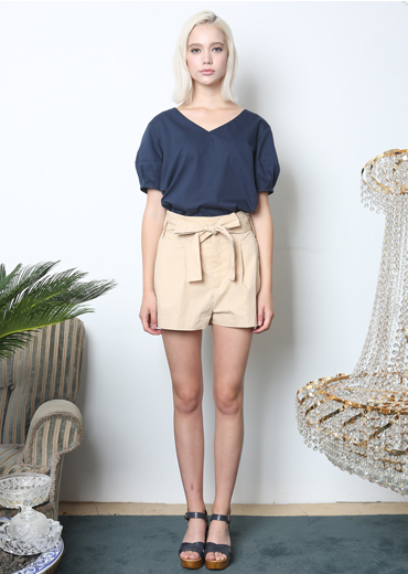 PUFF SLEEVE V-NECK BLOUSE [NAVY]