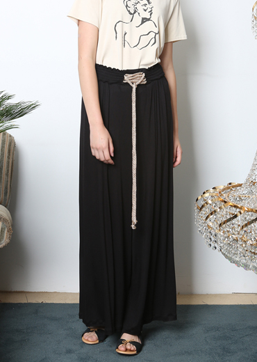 LACE-UP WIDE-LEG PANTS [BLACK]