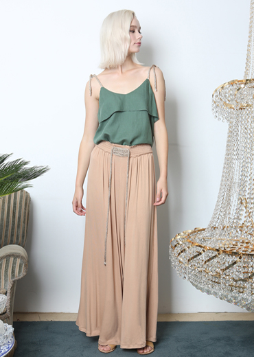LACE-UP WIDE-LEG PANTS [BEIGE]