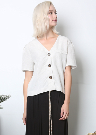 PUFF SLEEVE LINEN BLOUSE [WHITE]