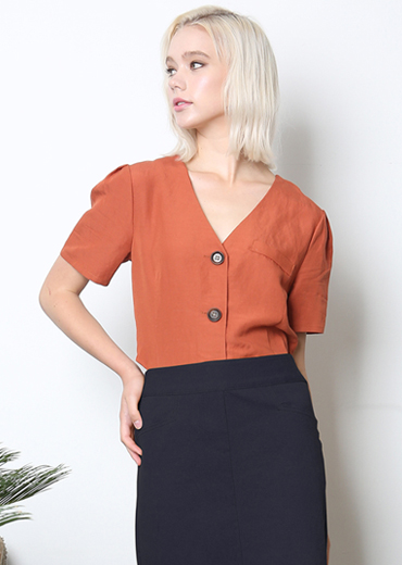 PUFF SLEEVE LINE BLOUSE [ORANGE]