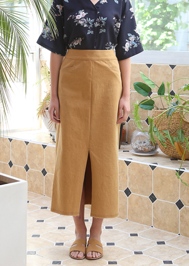 H-LINE DENIM SKIRT [MUSTARD]