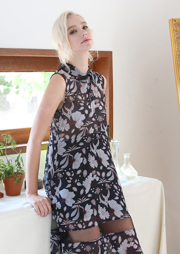 ORIENTAL FLORAL SEE-THRU DRESS [NAVY]