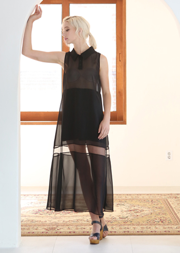 JET BLACK SEE-THRU MAXI DRESS