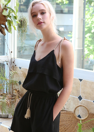 BOHO ROPE STRING CAMISOLE [BLACK]