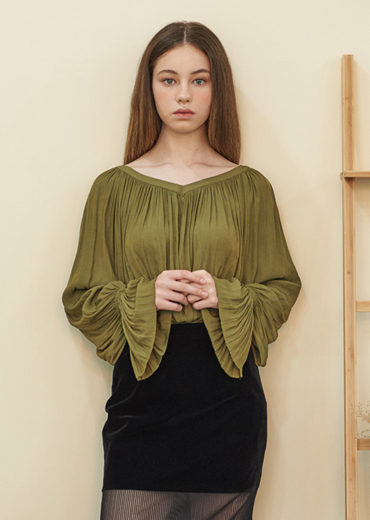 CREPE AIR FLOW BLOUSE [OLIVE]