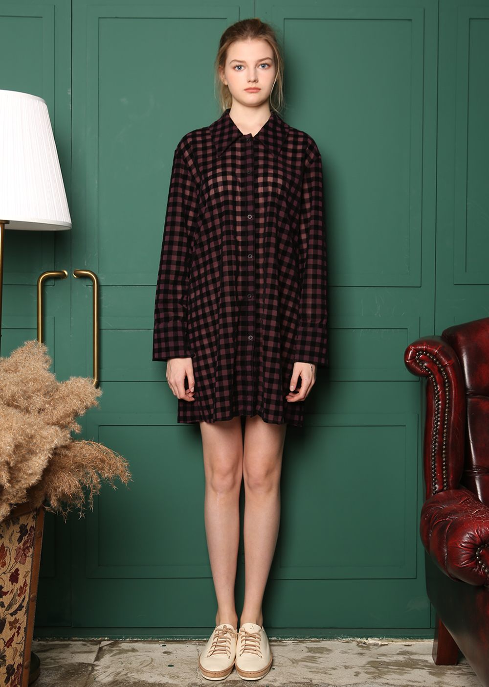 SEE TRUE VELVET PLAID SHIRT DRESS[VIORET]