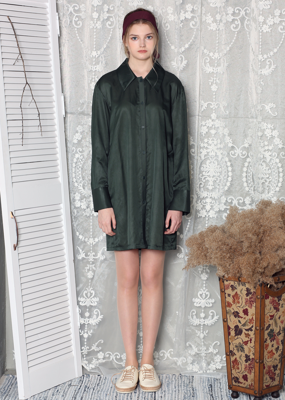 SOFT LUSTERED SILK SHIRT DRESS [GREEN]