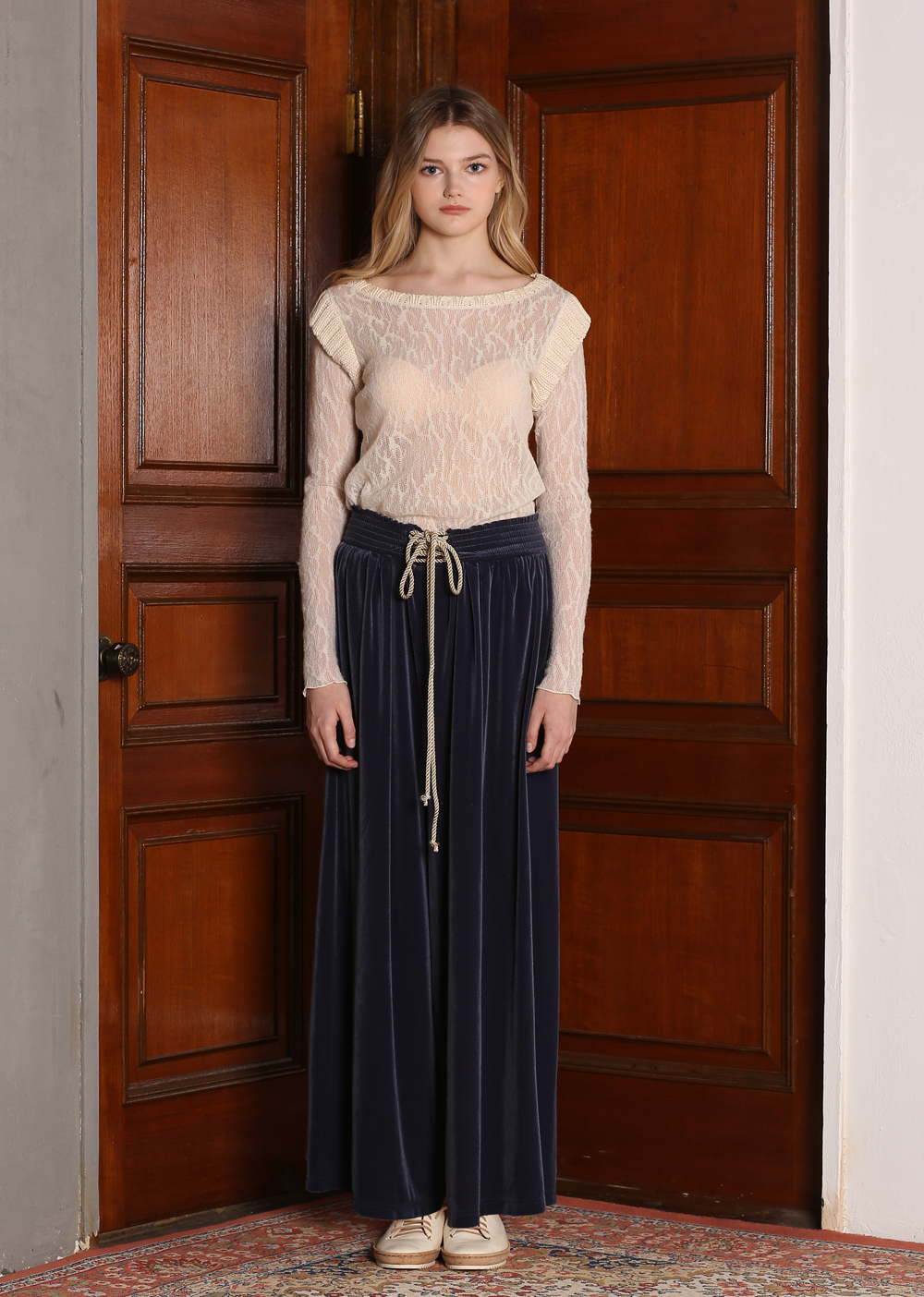 VELVET WIDE LEG LONG PANTS [BLUE]