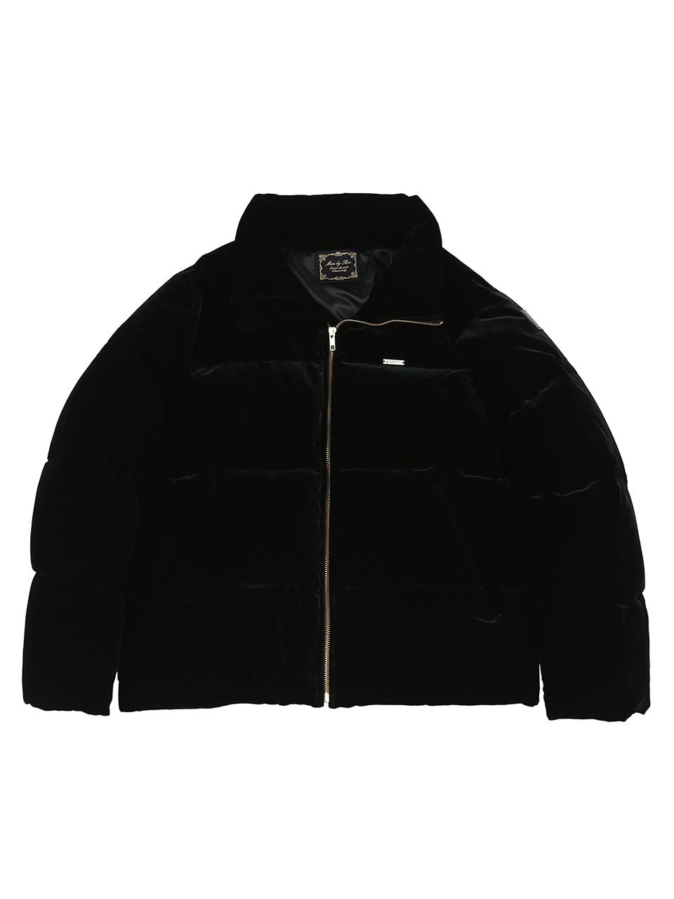 VELVET QULTED DUCK DOWN JACKET [BLACK]