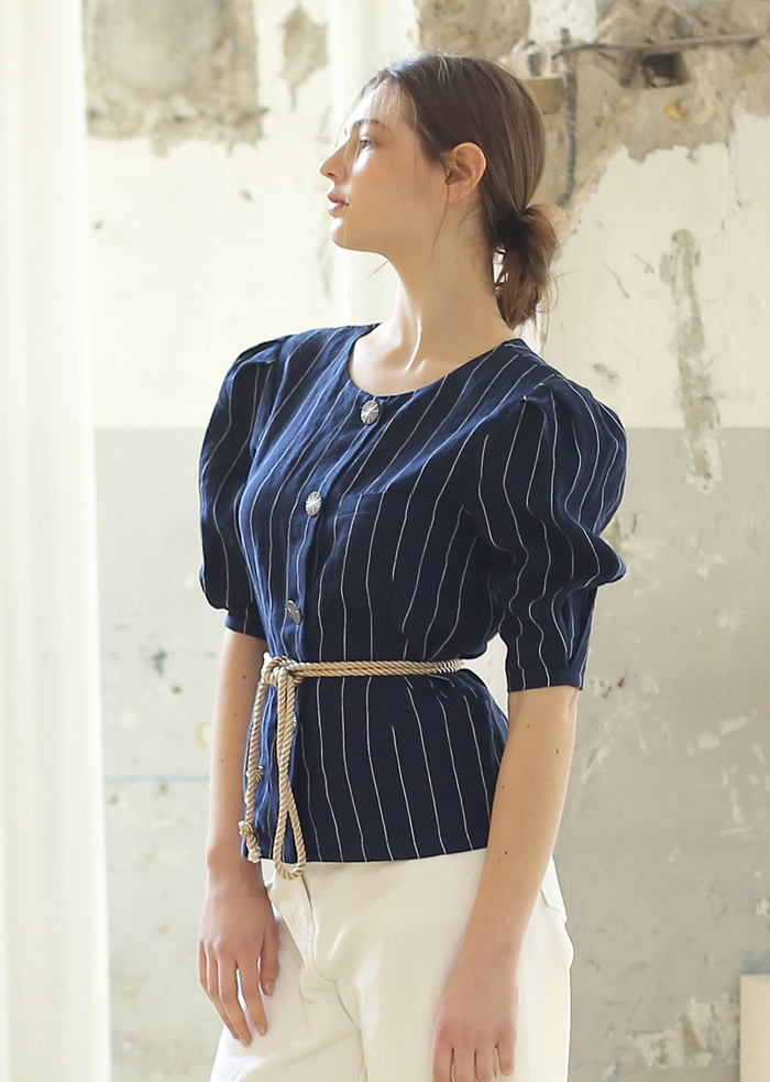 STRIPED LINEN ROPE BLOUSE (NAVY)