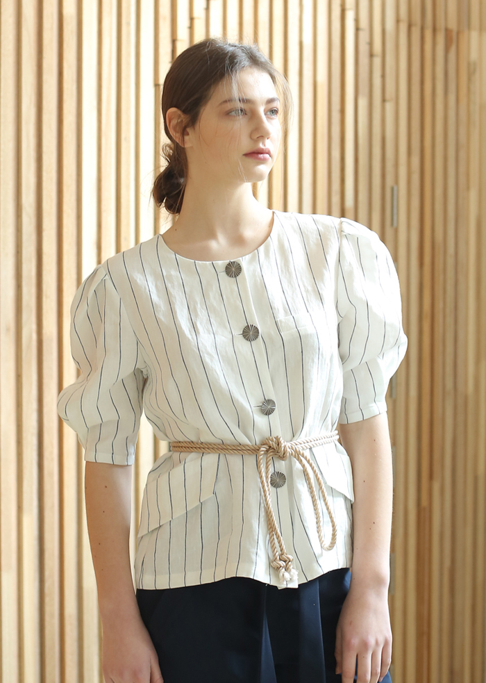 STRIPED LINEN ROPE BLOUSE (WHITE)