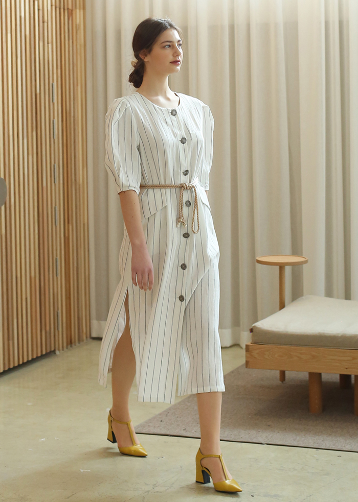 STRIPED LINEN ROPE DRESS (WHITE)