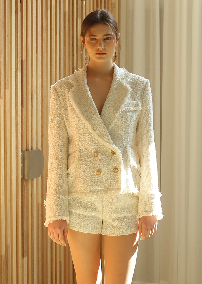 TWEED FRINGE JACKET (WHITE)