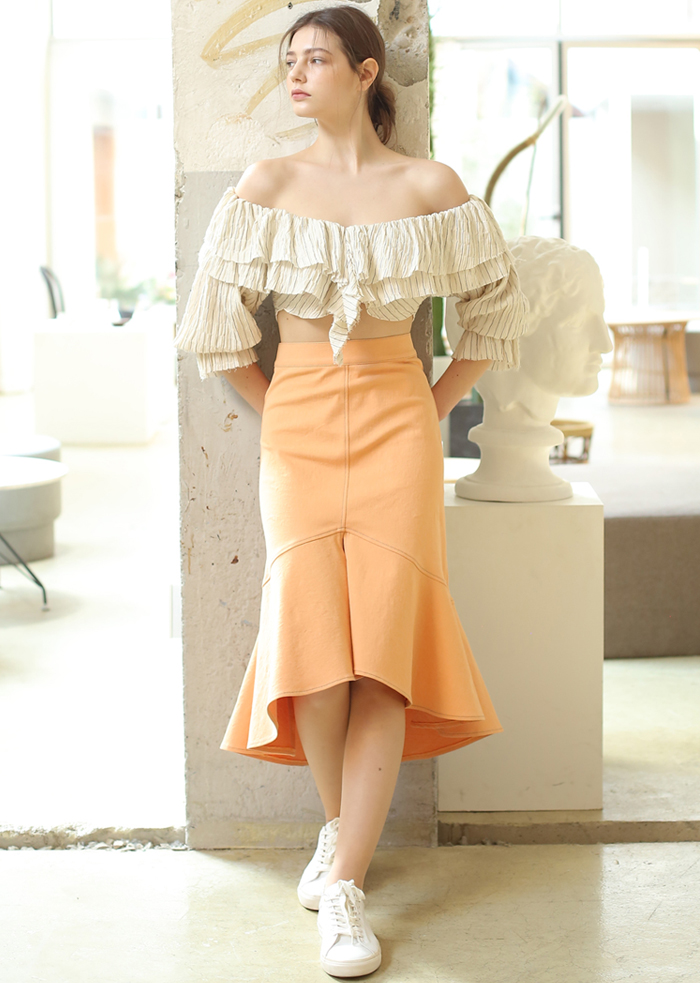 DENIM MERMAID SKIRT (ORANGE)