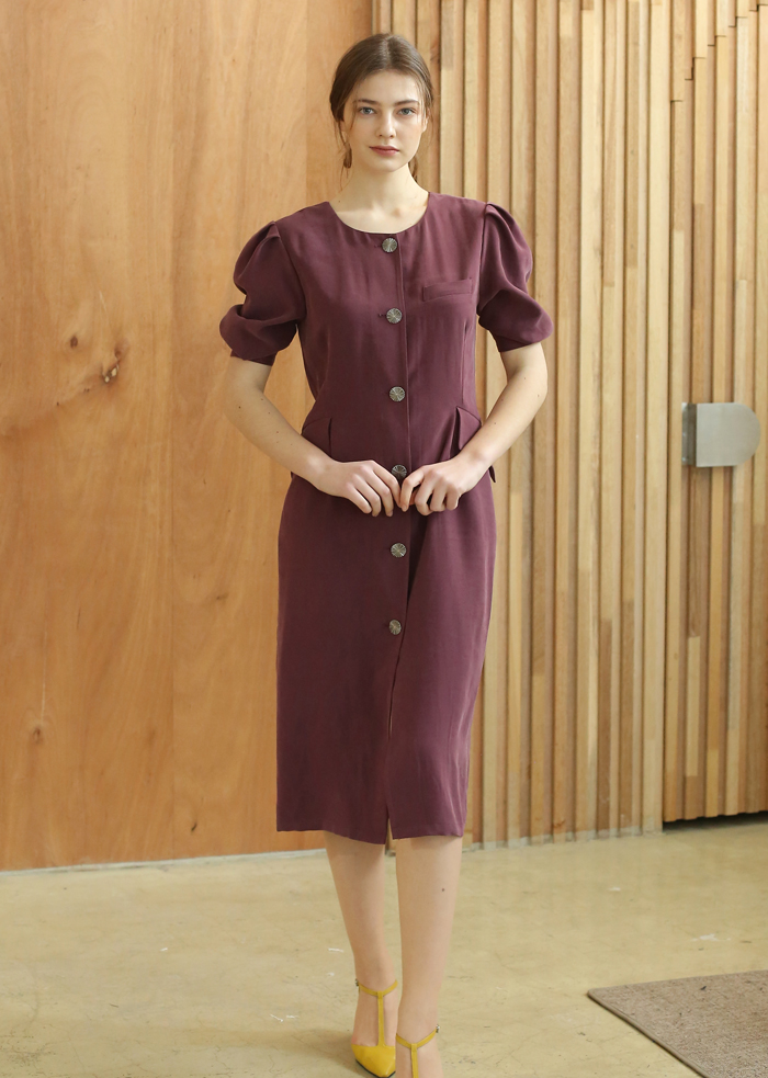 PUFF SLEEVE H-LINE DRESS (LAVENDER)
