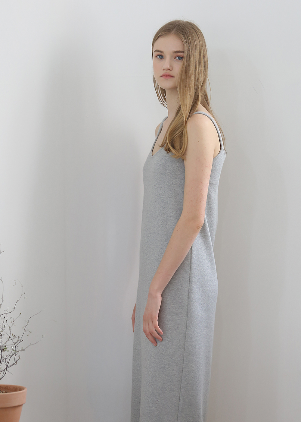 H-LINE SLIP DRESS(GRAY)