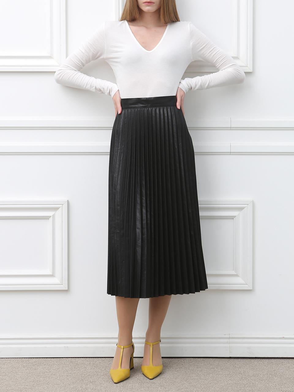 A-LINE PLEATS MIDI SKIRT(BLACK)