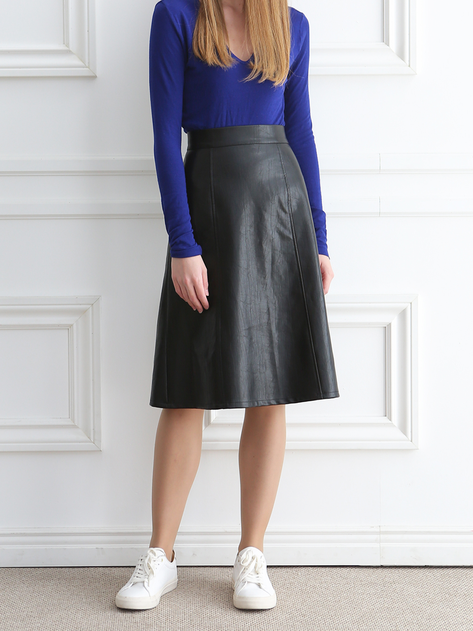 FAKE LEATHER A-LINE SKIRT(BLACK)