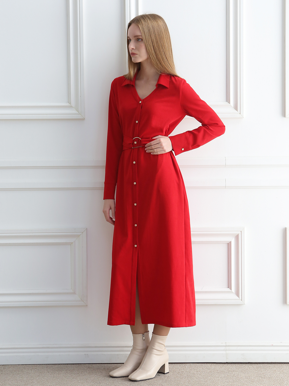 SHIRT MAXI DRESS  (RED)