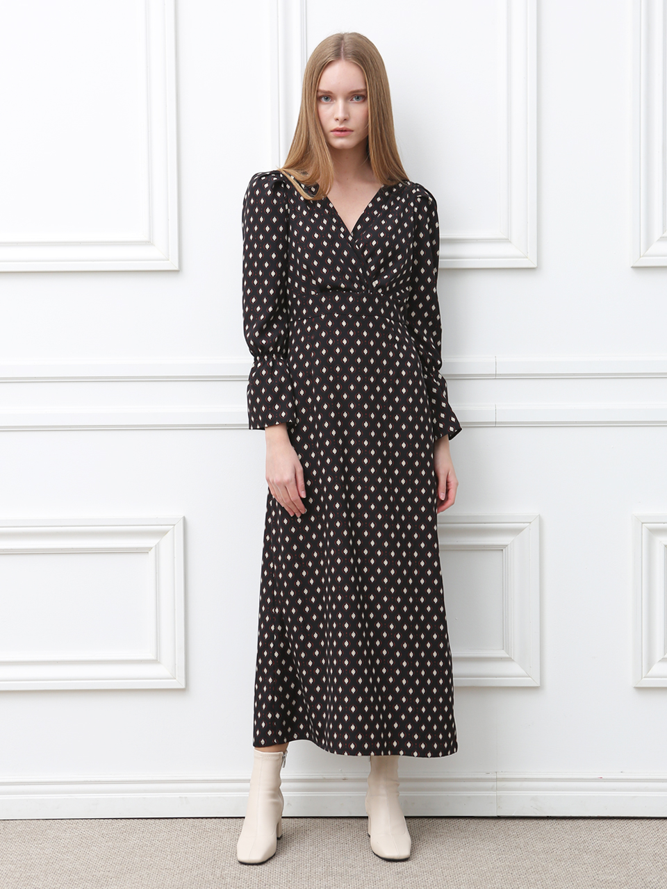 DOT LAP MAXI  DRESS (BLACK)