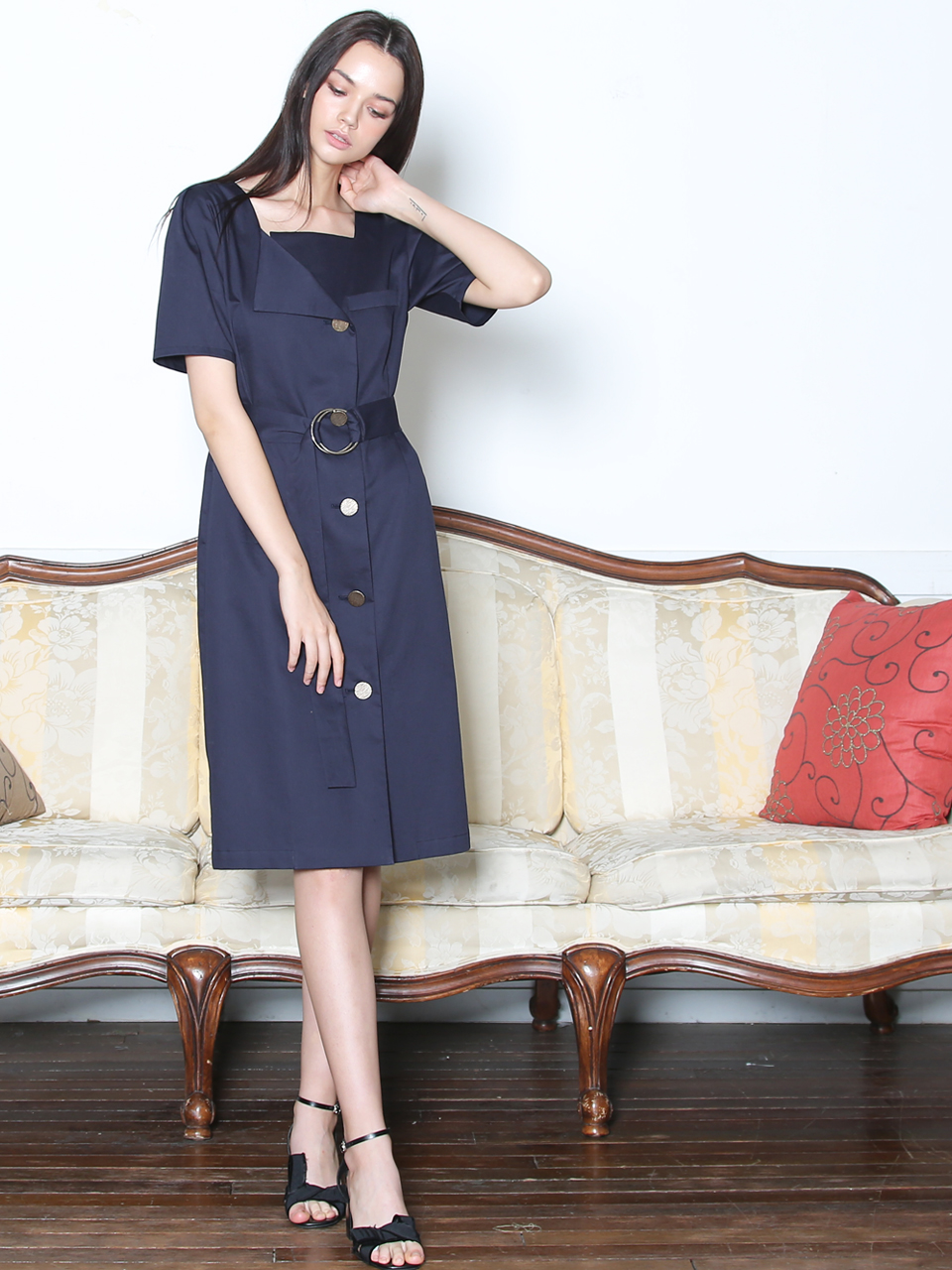 O-RING BELTED COTTON DRESS (NAVY)