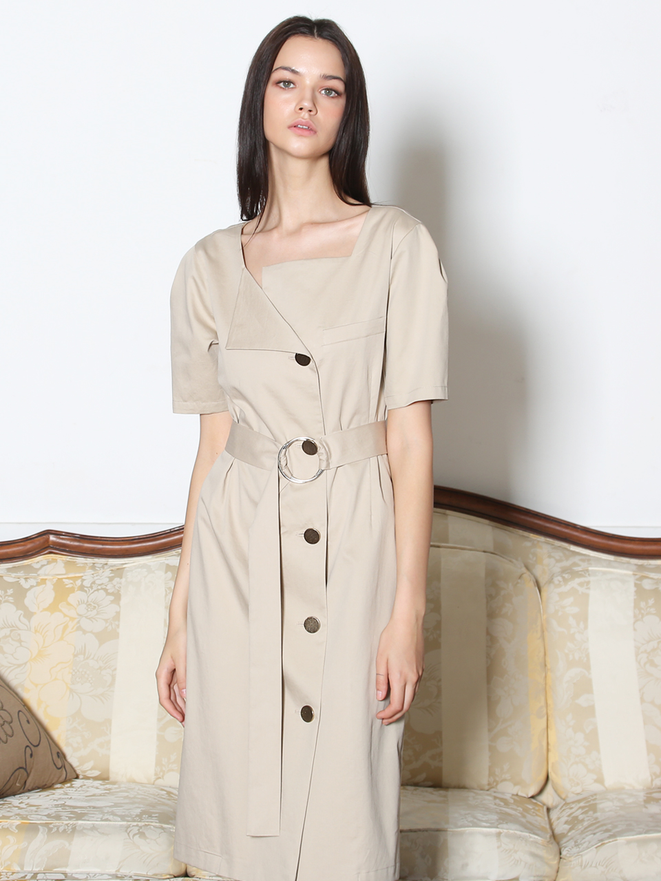 O-RING BELTED COTTON DRESS (LIGHT BEIGE)
