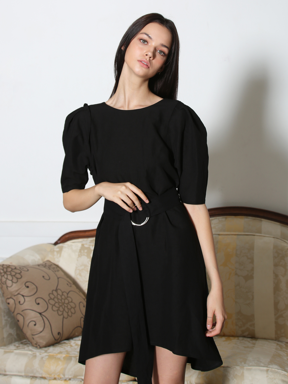 LINEN PUFF-SLEEVE UNBALANCED DRESS (BLACK)
