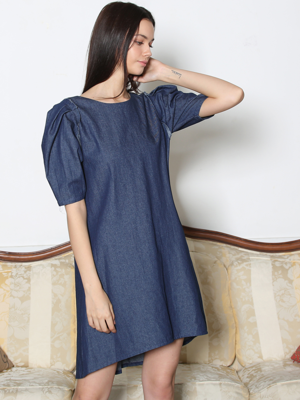 DENIM PUFF-SLEEVE UNBALANCED DRESS (DEEP BLUE)