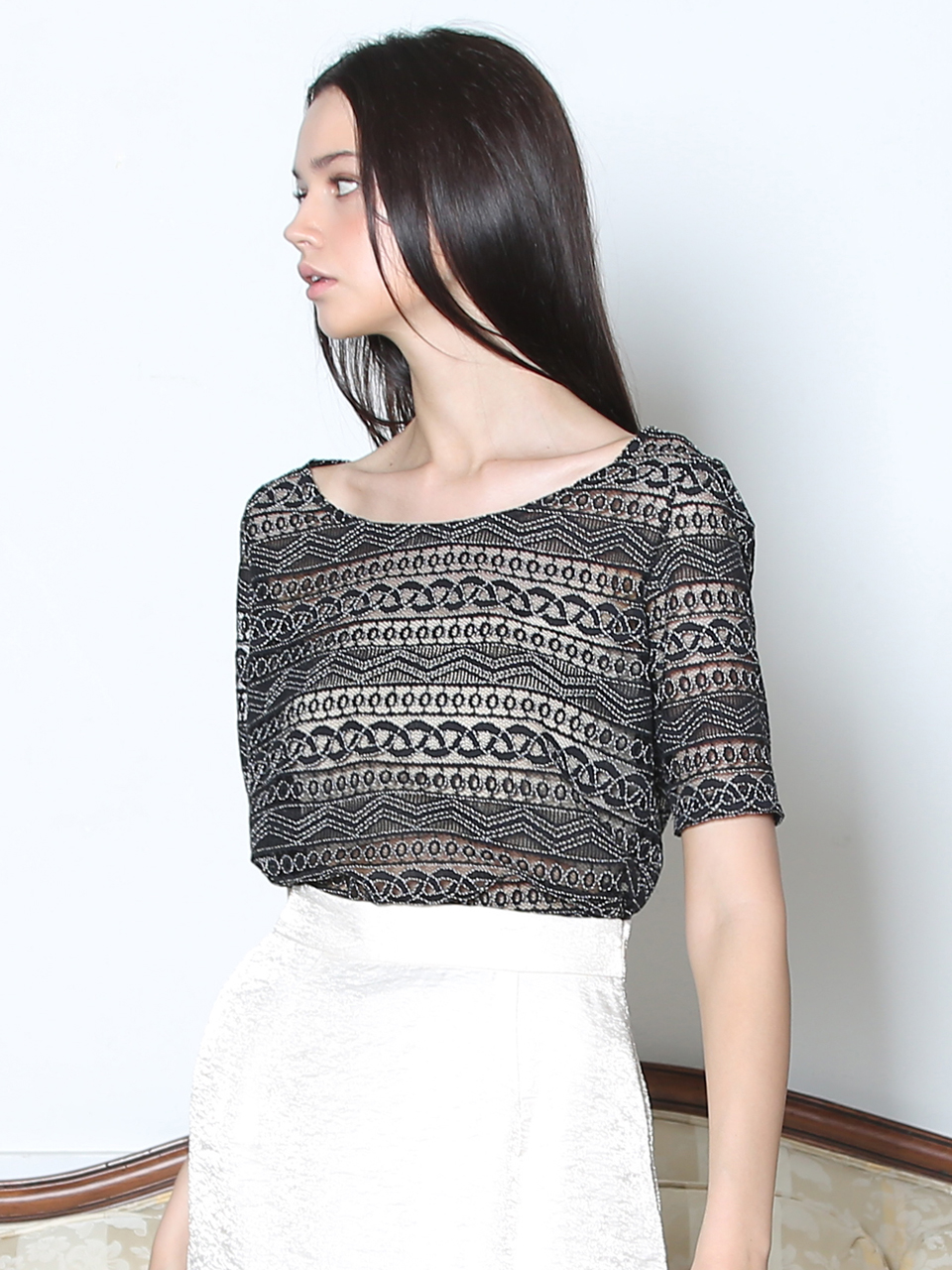 LACE SEE-THROUGH BLOUSE (BLACK)