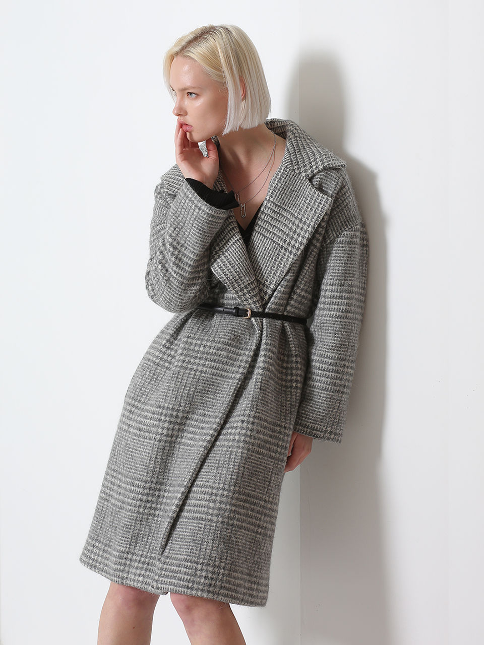 SHAWL LAPELS WOOL-BLEND OVERSIZED COAT (LIGHT GRAY)