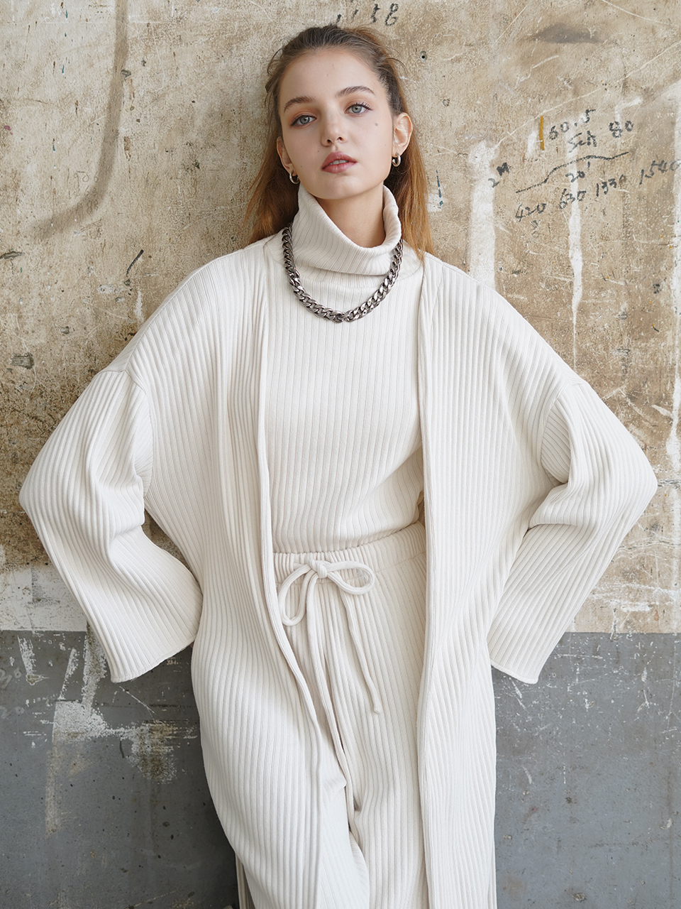 Cozy belted longline cotton cardigan (white)