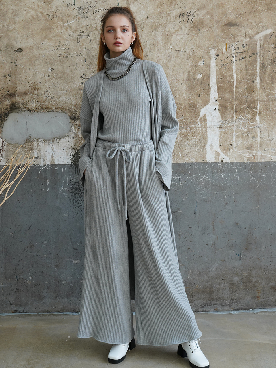 Cozy belted longline cotton cardigan (gray)