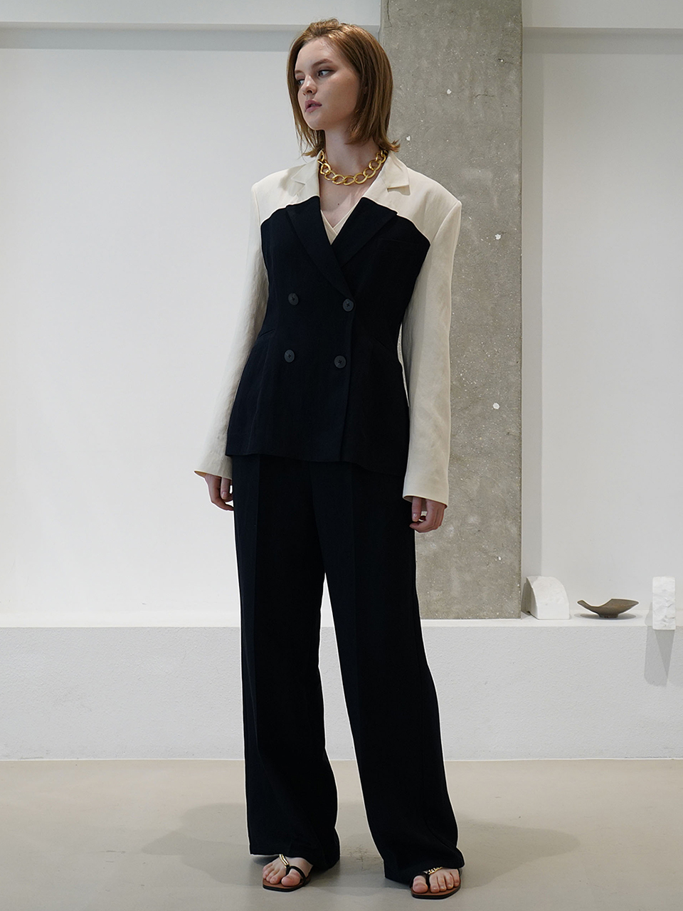 Colour-block linen double-breasted jacket
