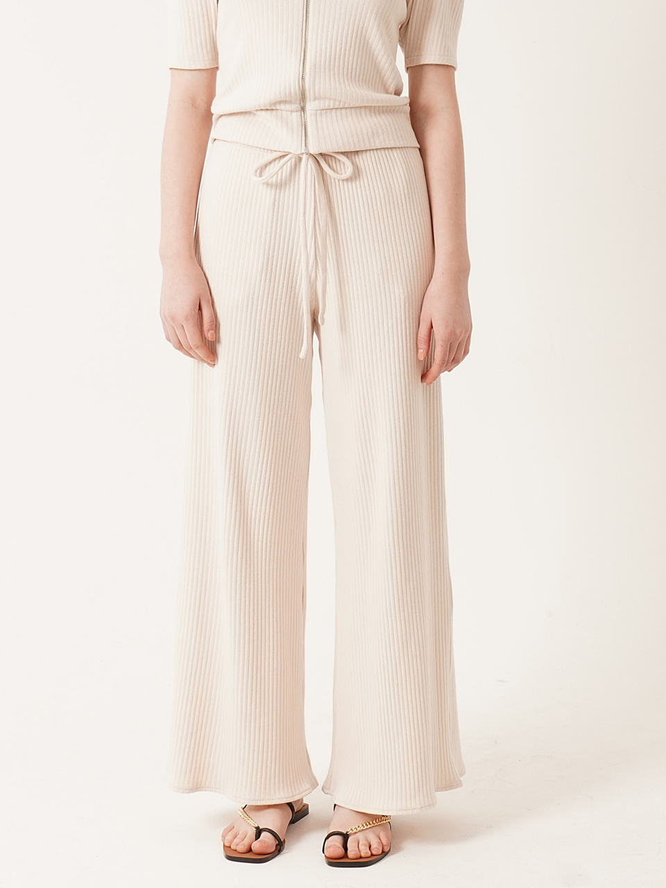 Cozy ribbed cotton wide-leg pants(IVORY)