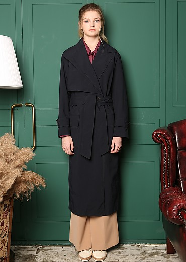 FLAPPED BIG LAPEL DETAIL TRENCH COAT [NAVY]
